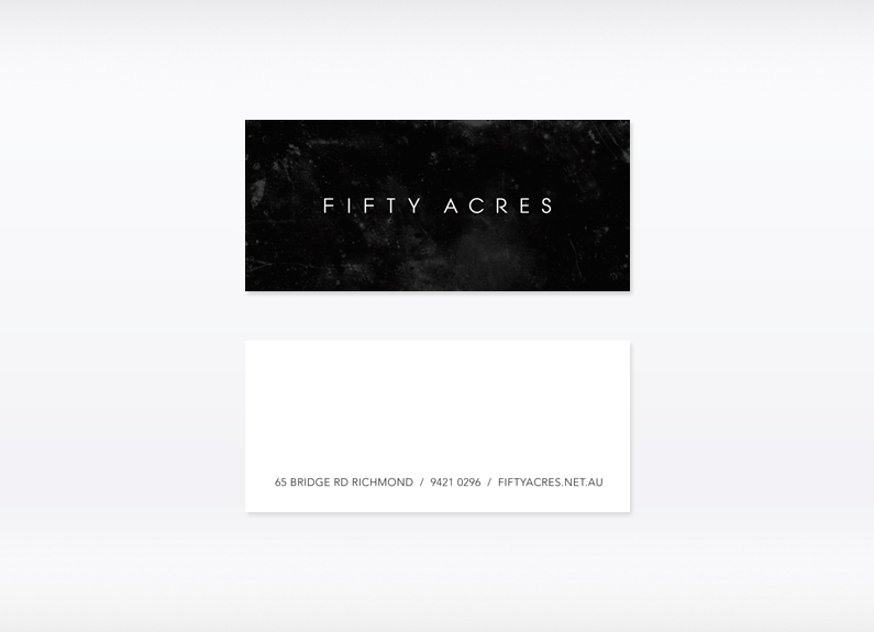 Fifty acres business card