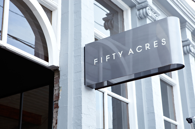Fifty acres signage