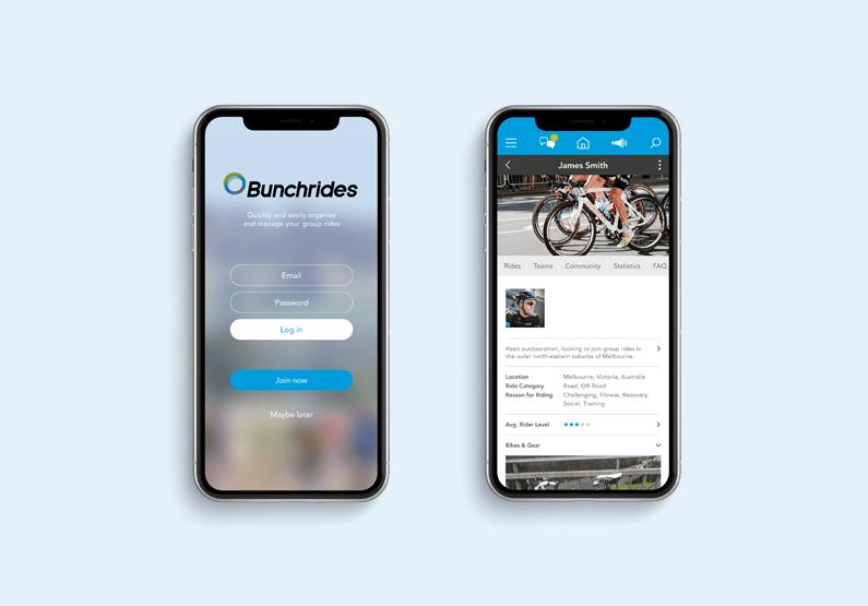 bunchrides app screen design