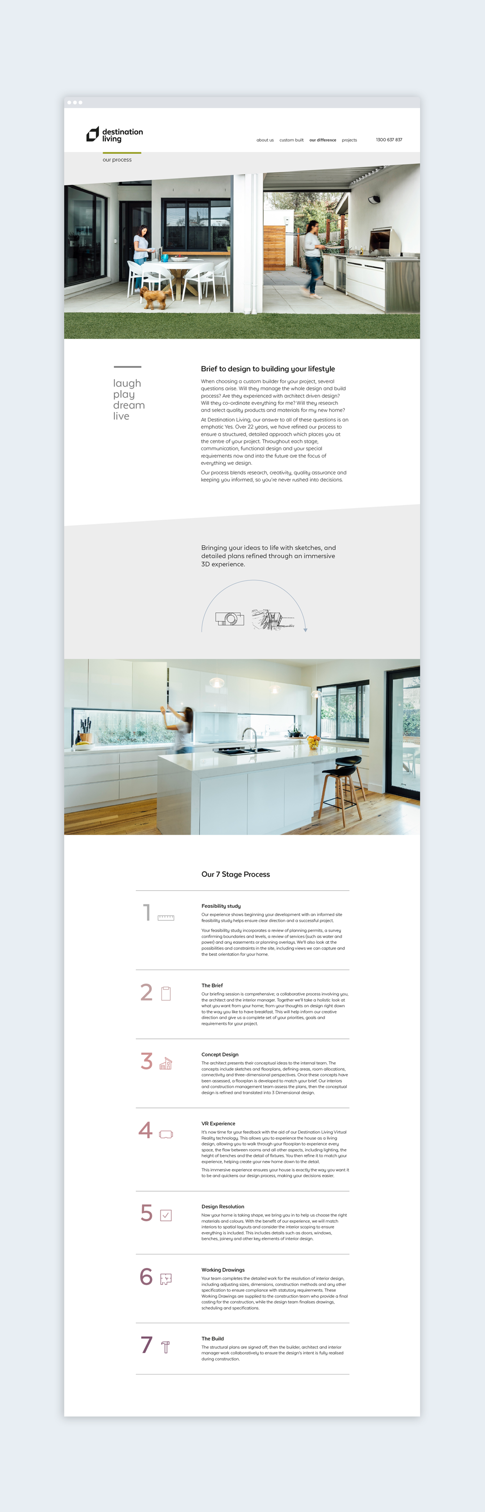 Destination living branding website